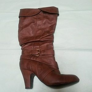 Shoes - Brown Scrunch Boots with buckle detail